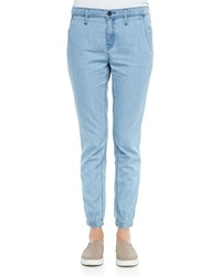 Vince Denim Fitted Jogger Pants Women's Light Wash