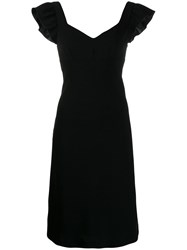 Boutique Moschino Ruffled Sleeves Dress Black