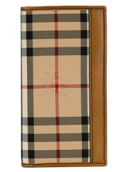 Burberry 'Murphy' Horseferry Check Fold Over Wallet Nude And Neutrals