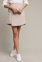 Anthropologie Textured Wrap Skirt Taupe