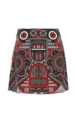 Holly Fulton Printed Mini Skirt Red