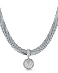 Alor Spring Coil Cable And Round Diamond Pendant Necklace Gray