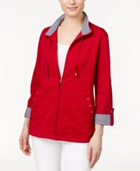 Karen Scott Striped Trim Lounge Jacket Only At Macy's New Red Amore