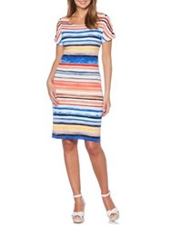 Rafaella Stripe Shoulder Grommet Cotton Sheath Dress Yacht Blue