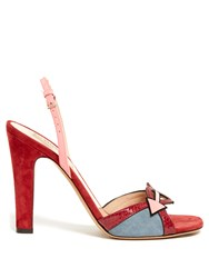 Valentino Love Black Suede And Leather Sandals Red Multi