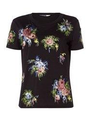 Sportmax Code Jersey T Shirt With Embroidered Floral Pattern Black