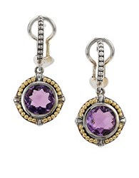 Effy Amethyst Sterling Silver And 18K Yellow Gold Drop Earrings Purple