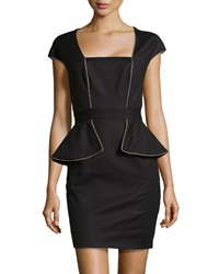 Marchesa Voyage Shimmer Trim Split Peplum Sheath Dress Black