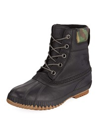 Sorel Cheyanne Ii Premium Waterproof Short Leather Lace Up Duck Boots Black