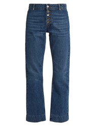 Alexachung Exposed Button Kick Flare Cropped Jeans Denim