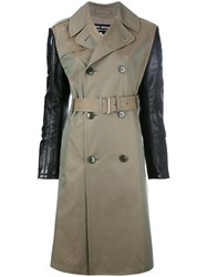 Comme Des Garcons Junya Watanabe Contrast Sleeve Trench Coat Green