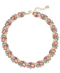 Charter Club Gold Tone Multi Stone Cluster Collar Necklace 17 2 Extender Created For Macy's