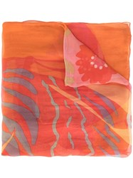 Salvatore Ferragamo Vintage Printed Scarf Orange
