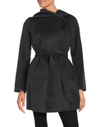 Michael Michael Kors Wool Blend Hooded Wrap Coat Charcoal