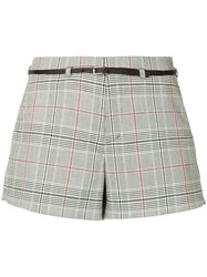 Loveless Checked Belted Shorts Grey