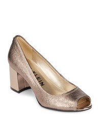 Anne Klein Meredith Leather Dress Pumps Taupe Metallic