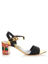 Rupert Sanderson Pythia Embroidered Heel Suede Sandals Black Multi