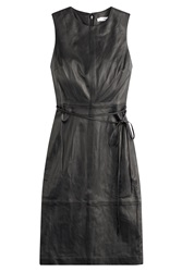 Vince Leather Sheath Dress Black