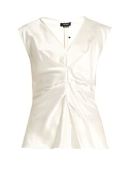 Isabel Marant Romney Pleated Front Satin Top Ivory