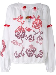 Forte Couture Floral Patterned Blouse Women Linen Flax Viscose 42 White