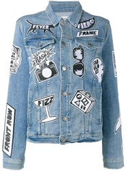Frame Denim Fashion Tour Patchwork Jacket Blue