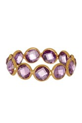 Savvy Cie 18K Yellow Gold Round Bezel Amethyst Ring Purple