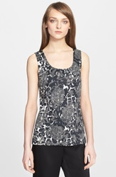 St. John Leopard And Floral Print Knit Shell Caviar Multi