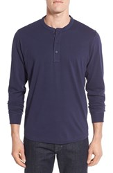 Nordstrom Men's Men's Shop Brushed Pima Cotton Long Sleeve Henley Navy Peacoat