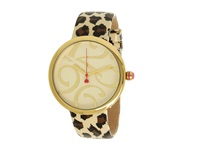 Betsey Johnson Bj00068 05 Analog Leopard Patent Printed Leather Strap Watch Leopard White Analog Watches Metallic
