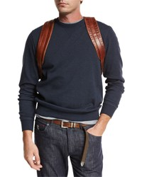 Brunello Cucinelli Cotton Crewneck Spa Sweatshirt Navy