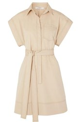 Givenchy Belted Cotton Poplin Mini Dress Beige