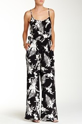 Bobeau Printed Wide Leg Jumpsuit Black