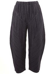 Issey Miyake Pleats Please By Cropped Pleated Trousers Blue