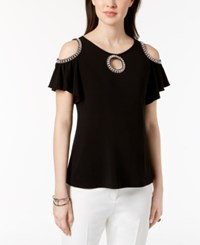 Msk Petite Embellished Cold Shoulder Top Black