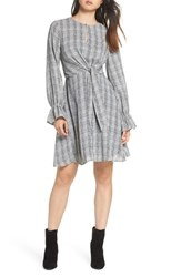 Sam Edelman Plaid Knot Front Fit And Flare Dress Black White