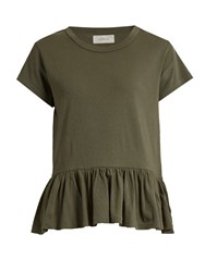 The Great Peplum Hem Distressed Jersey T Shirt Khaki