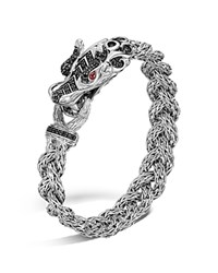 John Hardy Sterling Silver Naga Small Braided Chain Dragon Head Bracelet With Black Sapphire And Ruby Eyes Black Silver
