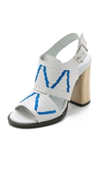 Thakoon Lizzy Chunky Heel Sandals Off White Pacific