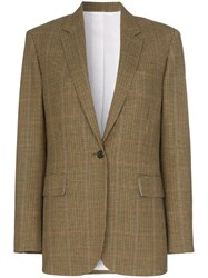 Calvin Klein 205W39nyc Single Breasted Check Wool Blazer Brown