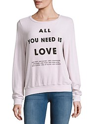 Wildfox Couture Letter Printed Long Sleeve Sweatshirt Lilac Dawn