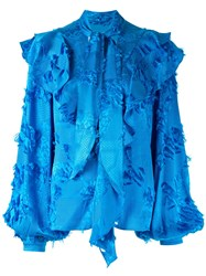 Peter Pilotto Blue Rny Mtch Fringe Jacquard Frill Blouse 60