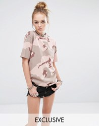 Reclaimed Vintage Oversized Boyfriend T Shirt In Camo Pink