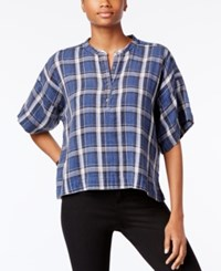 Calvin Klein Jeans Plaid Henley Shirt Indigo Night