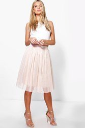 Boohoo Knee Length Tulle Skirt Nude