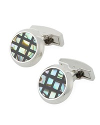 Bugatchi Mother Of Pearl Grid Cuff Links Silver