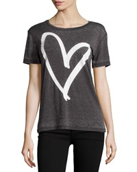 Chaser Heart Graphic Scoop Neck Tee Vintage Black White