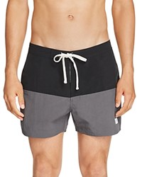 Saturdays Surf Nyc Ennis Color Block Swim Trunks Black Charcoal
