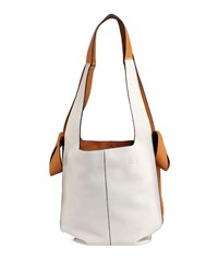 Loewe Colorblock Leather Hobo Tote Bag White