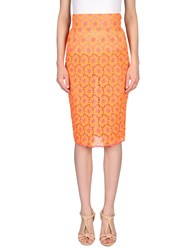 Daizy Shely Knee Length Skirts Orange