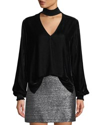 Bailey 44 Truth Serum Velvet Mock Neck Top Black